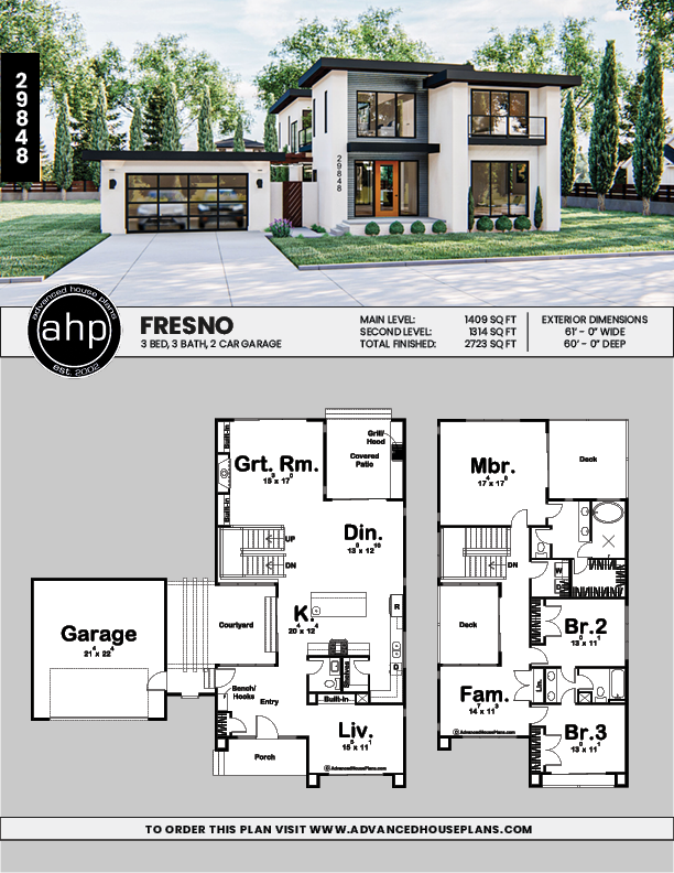 2 Story Modern Style House Plans Fresno Modern House Floor Plans House Blueprints Family House Plans