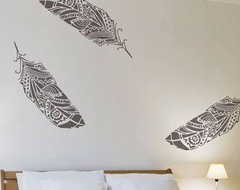 pared de bosque plumas stencil plantilla decorativa por stencilit