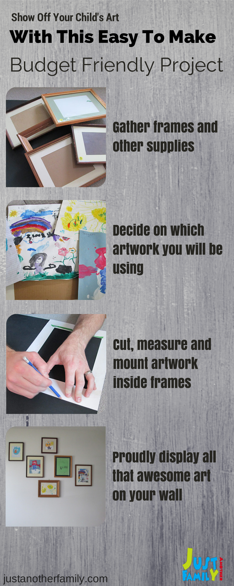 Show off all the cool and amazing things your kids have created with this easy to make art wall.