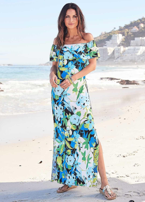 c950393604 Kaleidoscope Printed Frill Top Maxi Dress