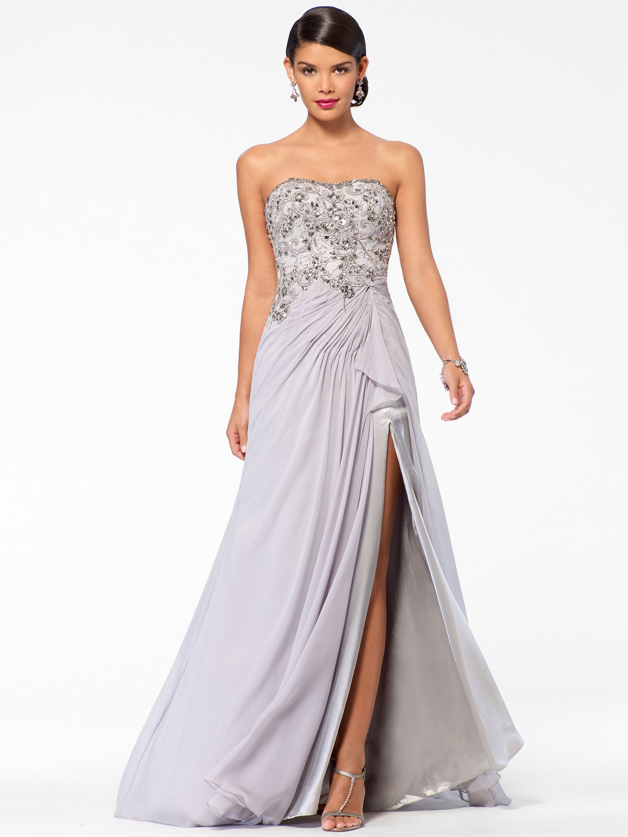 Silver beaded bustier slit gown vuhera prom dresses