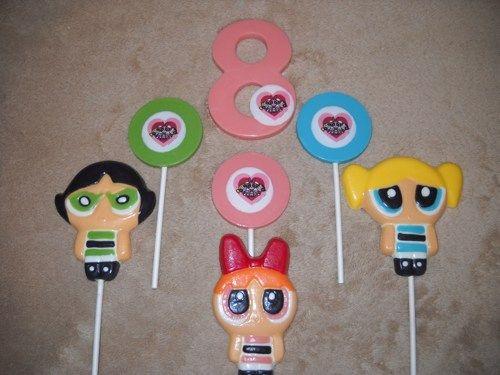 1 chocolate super hero powerpuff girls molded favor lollipop lollipops | sapphirechocolates - Edibles on ArtFire