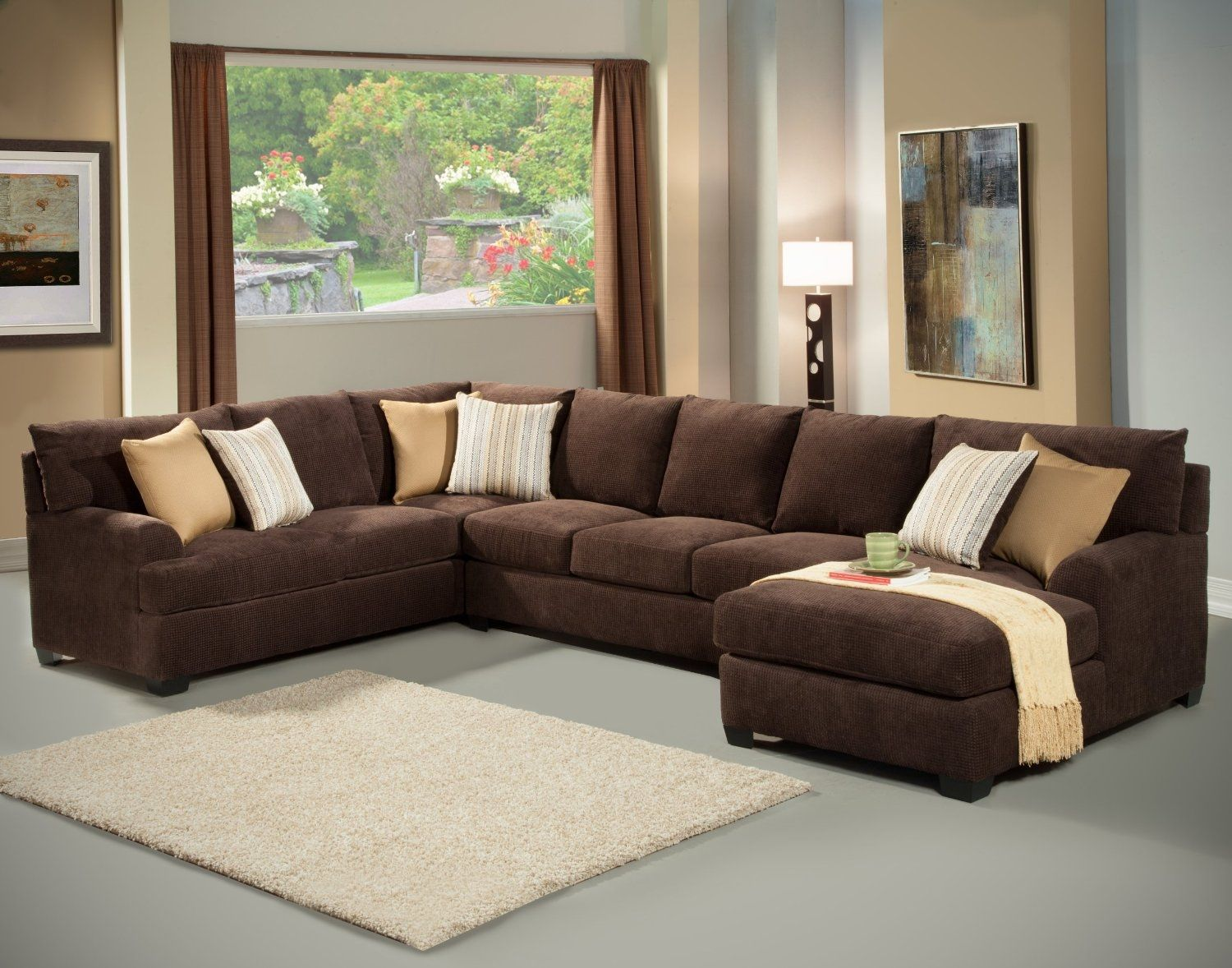 Brown Microfiber Sectional Sofa With Chaise Brown Sectional Living Room Brown Living Room Decor Brown Sectional Sofa Microfiber sectional sofa with chaise
