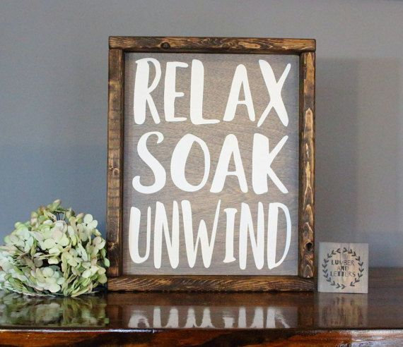 Bathroom Decor Signs Relax Soak Unwind  Rustic Bathroom Sign  Bathroom Signs