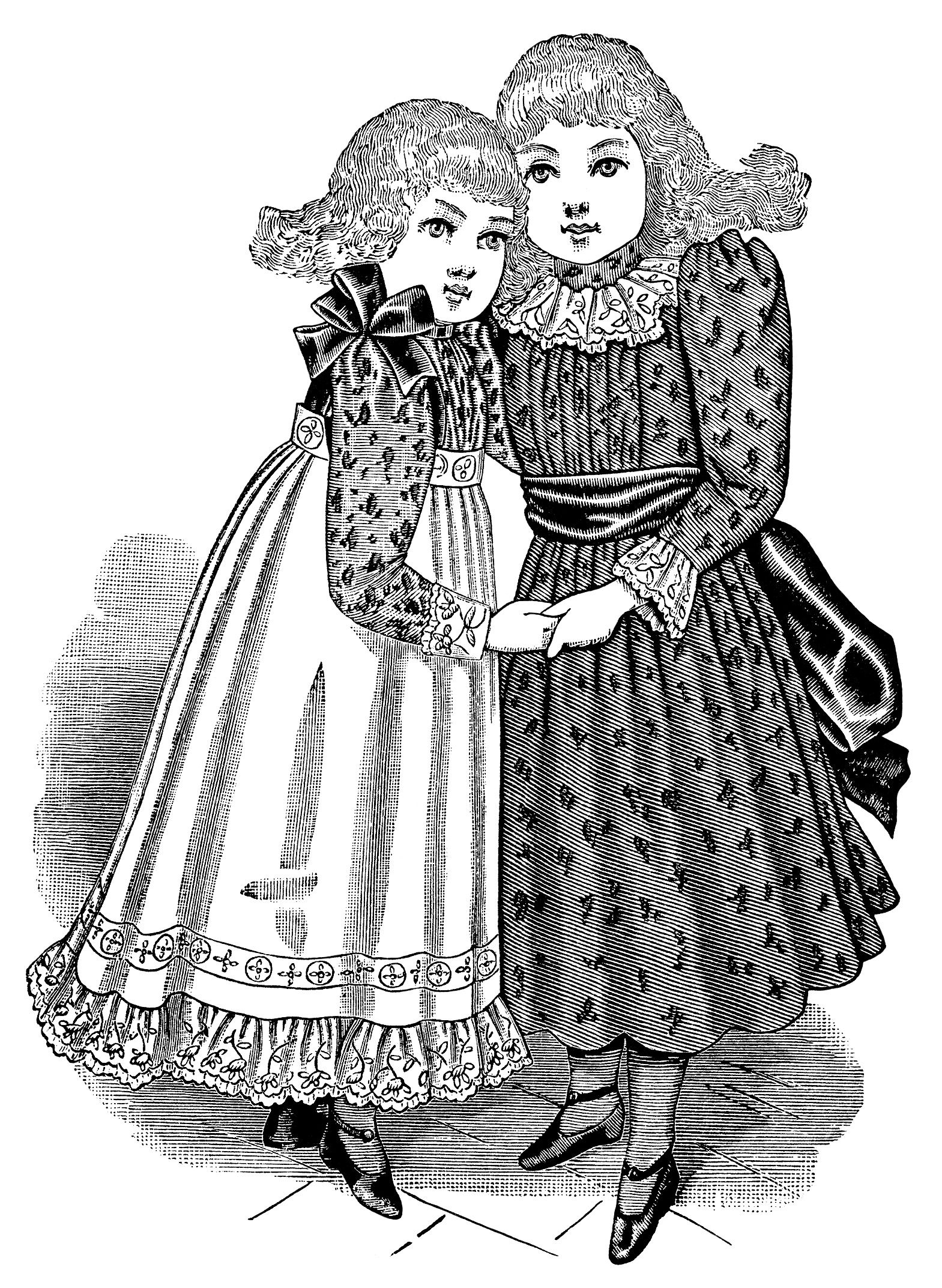 Victorian girl clip art, black and white clipart, vintage fashion ...