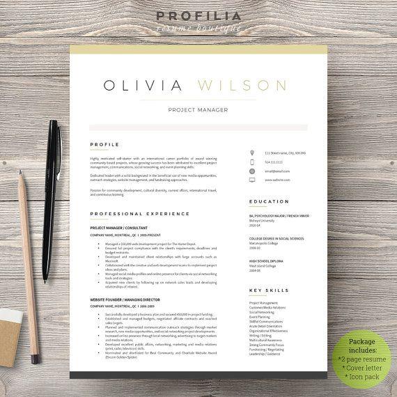 Modern Resume  Cover Letter Template --- Editable word format - resume cover page template word