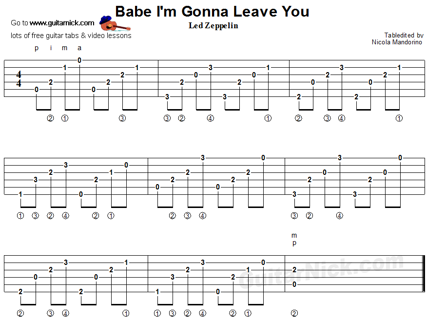 Babe I M Gonna Leave You Fingerstyle Guitar Tablature Guitar Tabs Fingerstyle Guitar Lessons Guitar Tabs Songs