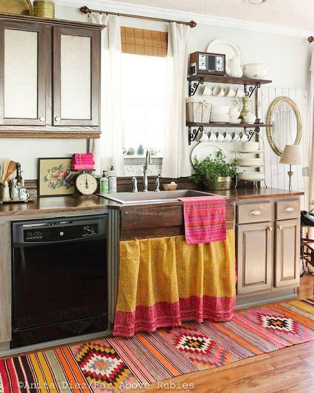 Bohemian Kitchen Ideas. I Love The Skirt Curtain Below The