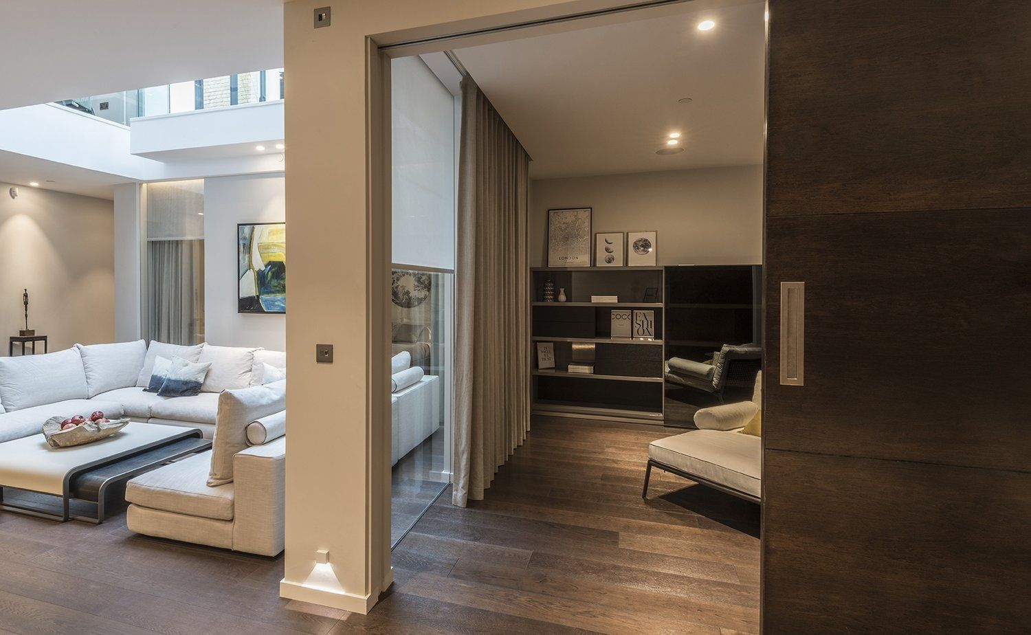 Recessed Curtain Tracks, Blinds, And Lights In London Basement