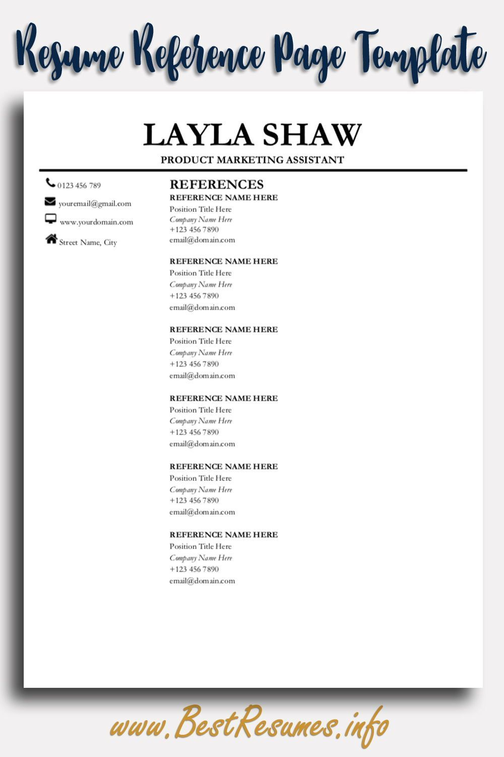 Reference page for resume resume references resume