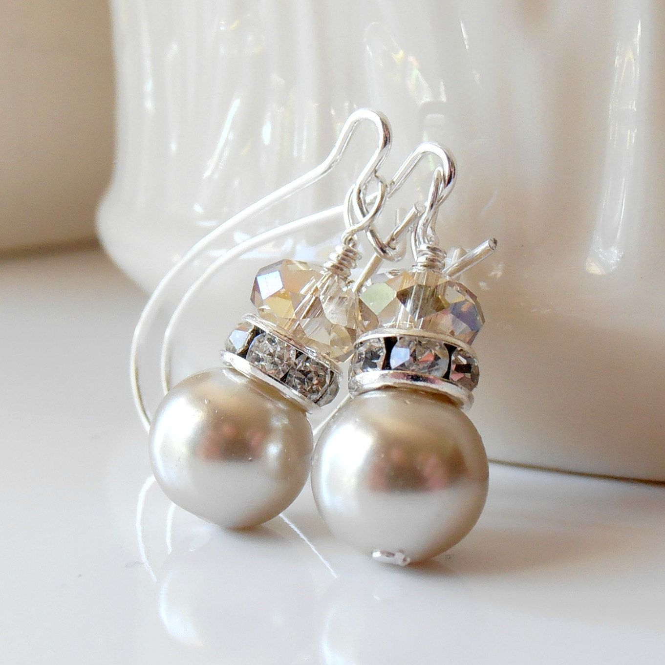 Bridesmaid Earrings, Champagne Pearl Dangles With Beige Crystals In Silver,  Beaded Handmade Wedding Jewelry
