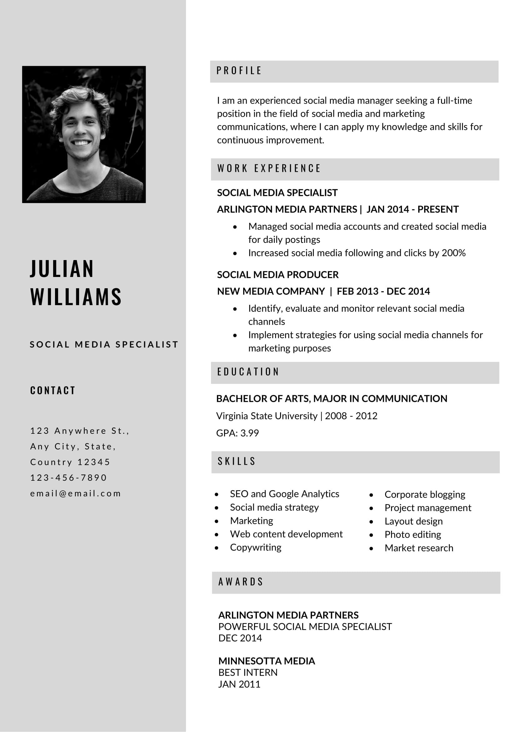 Free Grey Resume Template In Ms Word Format Resume Template Microsoft Word Resume Template Free Professional Resume Template