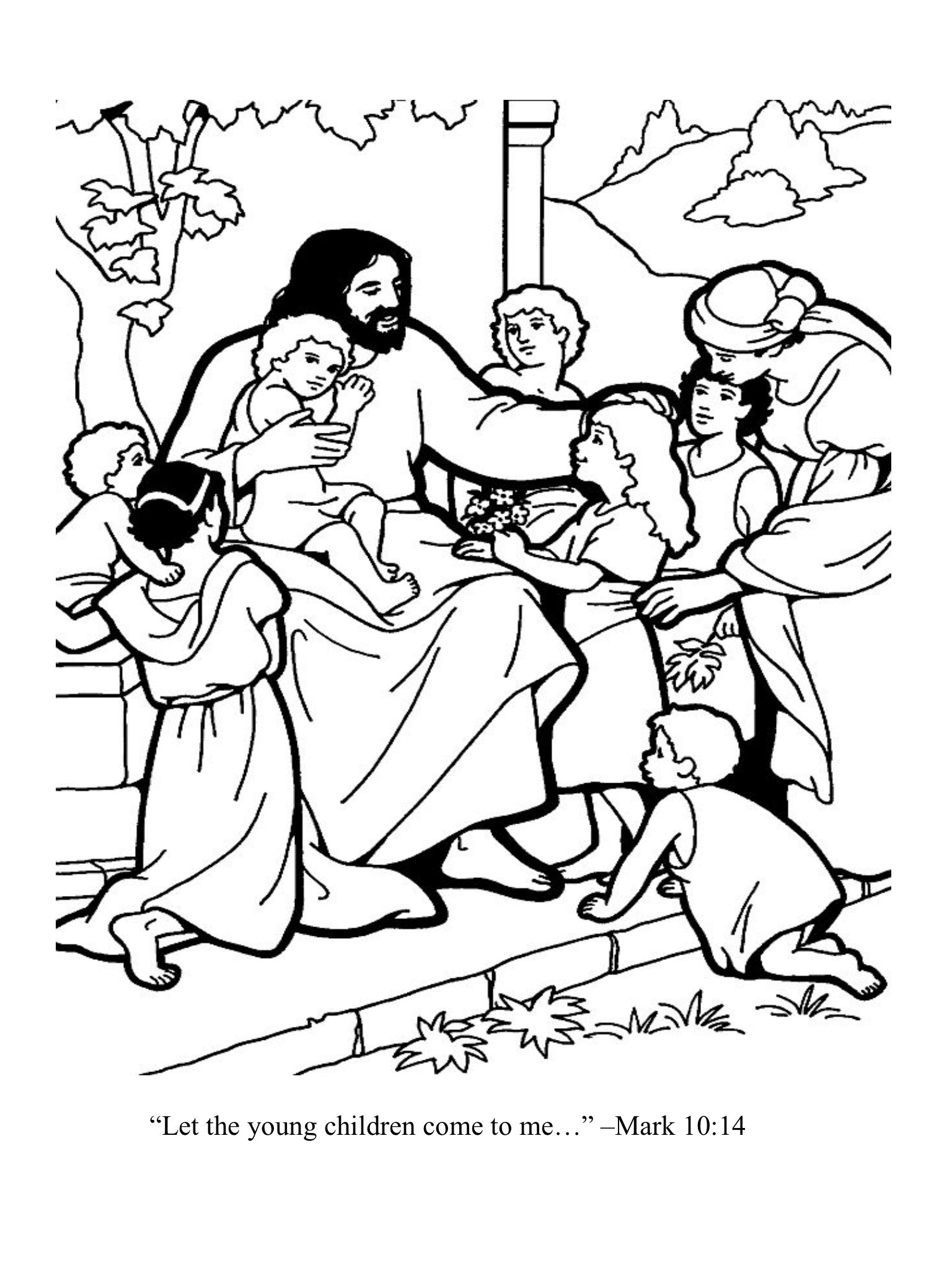 Let The Young Children Come To Me Sunday School Coloring Sheets