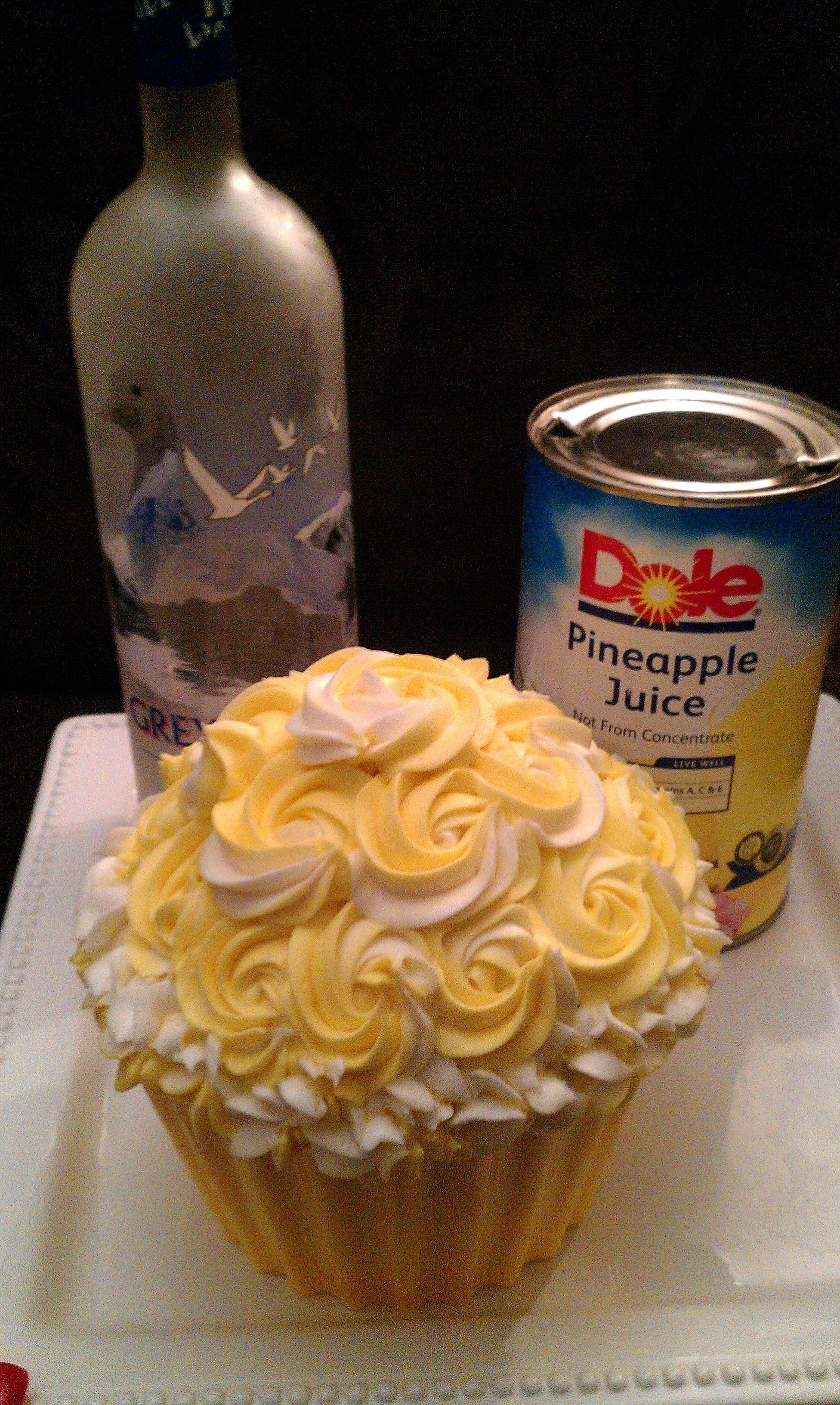 Yellow And White Giant Cupcake Infused With Vodka And Pineapple