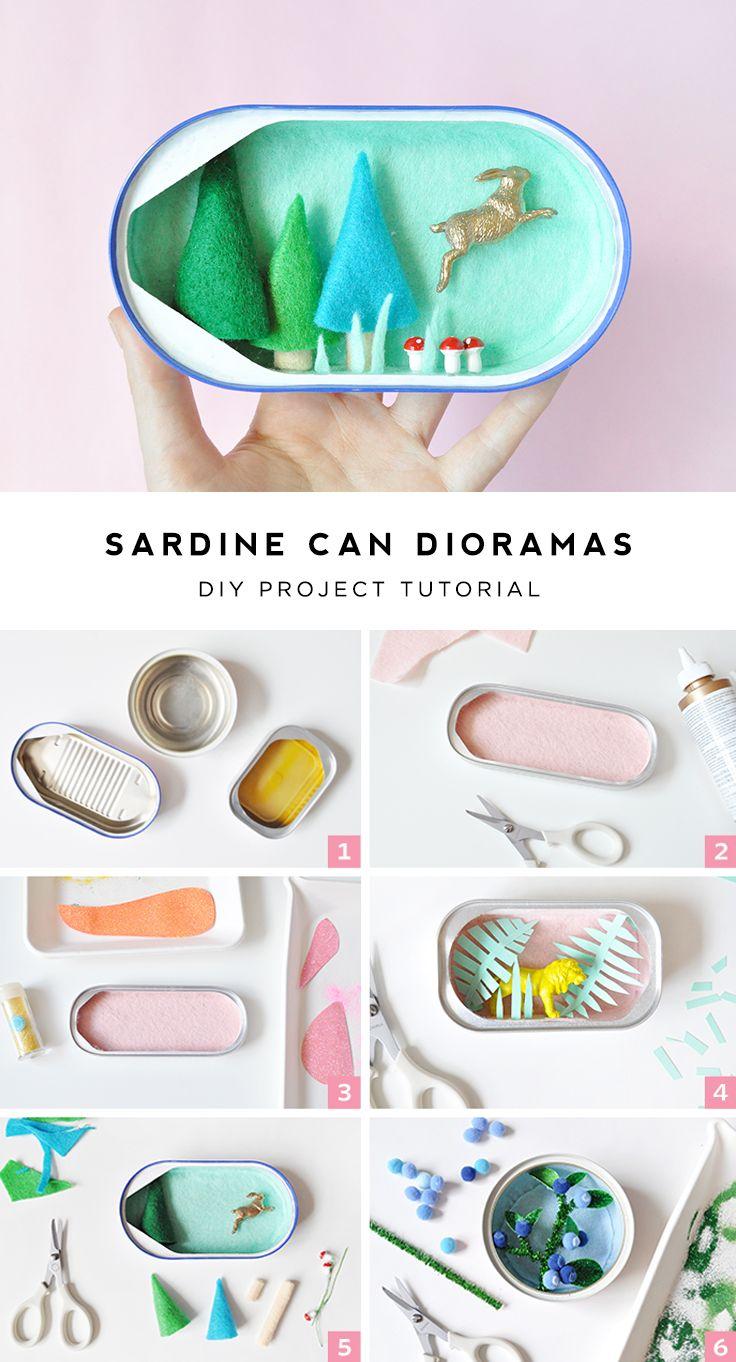 Mini sardine can dioramas inspiration for Empty sardine cans