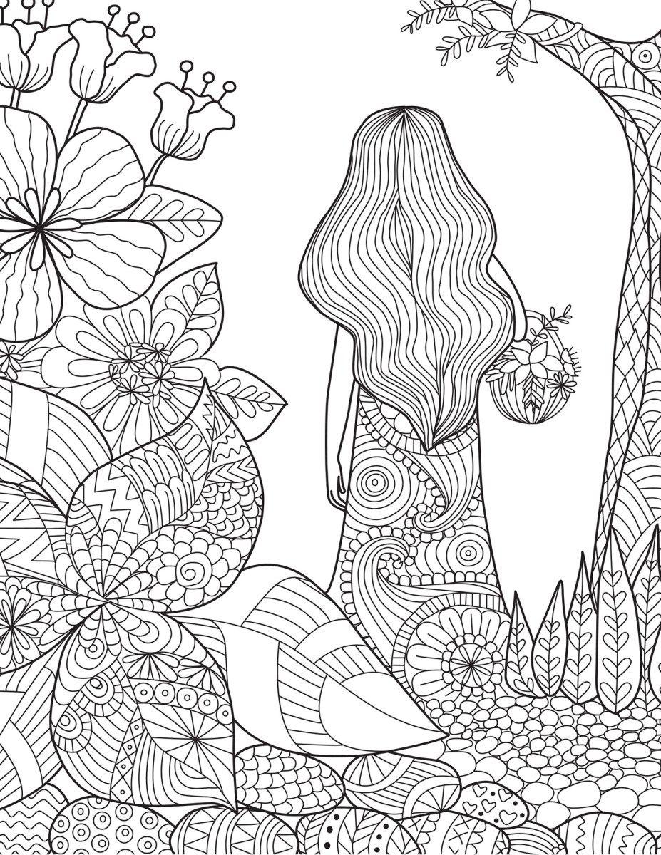 Coloriage Adulte Foret.Coloriage De La Nature Femme Dans La Foret Coloring Pages