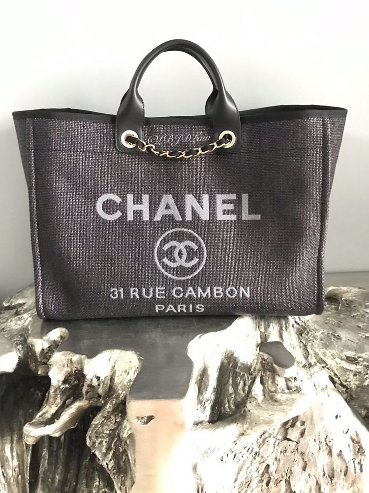 a92dcedbfc75 Details about NWT CHANEL BLACK DEAUVILLE TOTE X-LARGE TWEED BOUCLE ...