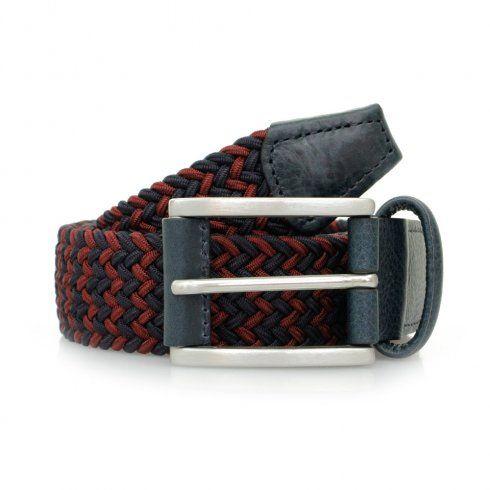 Anderson's UK Store | Woven Navy Dark Red Belt B0667