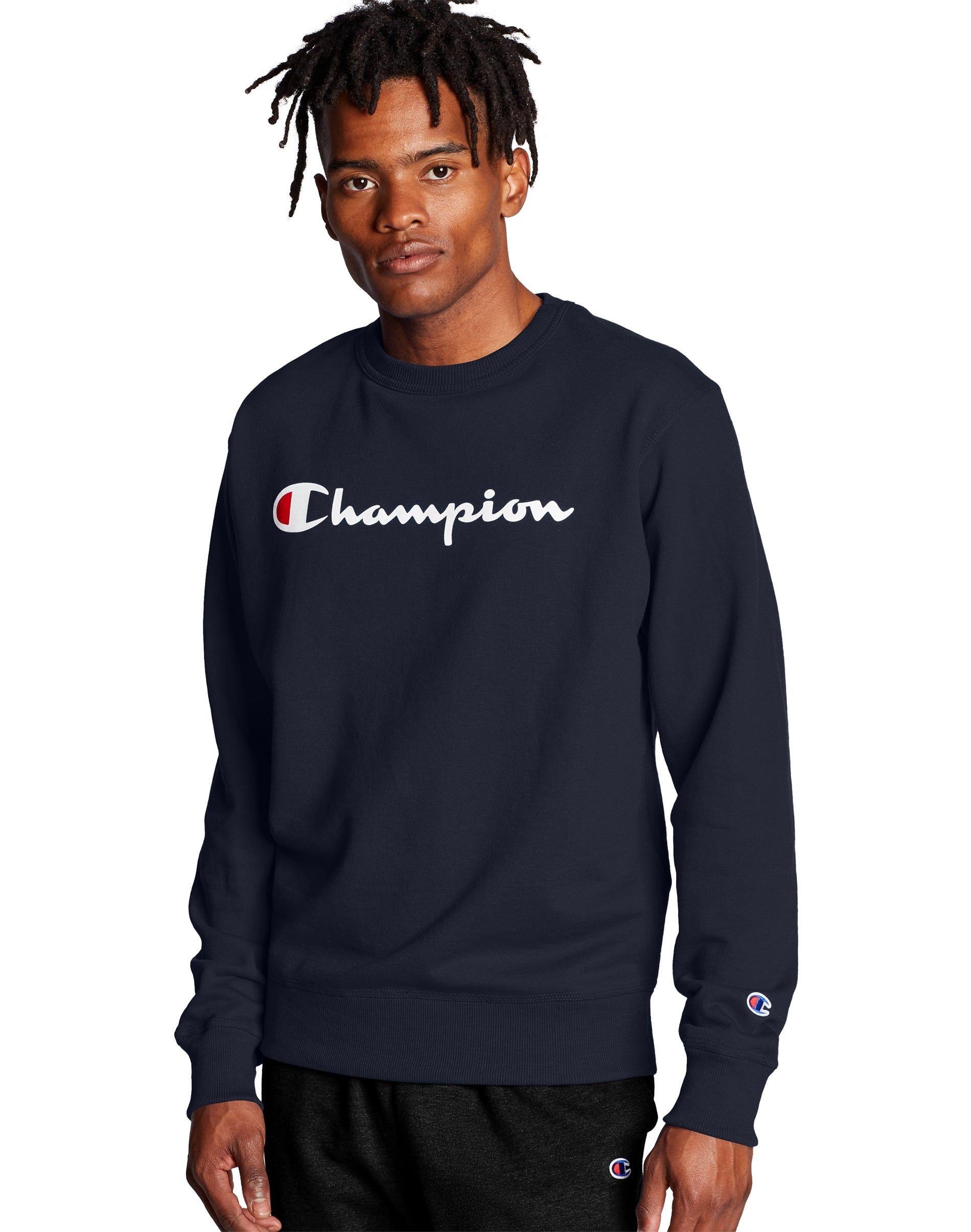 Champion Men S Athletics Powerblend Crew Script Logo Navy Long Sleeve Tshirt Men Script Logo Casual Street Style [ 2410 x 1900 Pixel ]