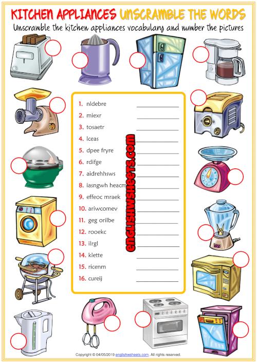 Kitchen Appliances Esl Unscramble The Words Worksheet In 2020 Kitchen Appliances Kitchen Utensils Worksheet Vocabulary Worksheets