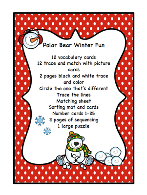 Polar Bear Winter Fun from Preschool Printables on TeachersNotebook.com -  (20 pages)  - Printable: The activities in this pack are designed to have fun while the child learns a variety of preschool concepts including number, color, patterns, sequence, size, letters and more.