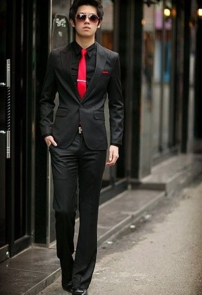 lookin fly with the black suit and red tie | The Wardrobe | Pinterest