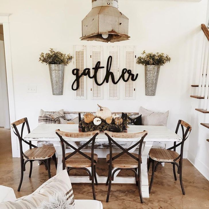 60 Easy Rustic Farmhouse Dining Room Makeover Ideas Dining Room