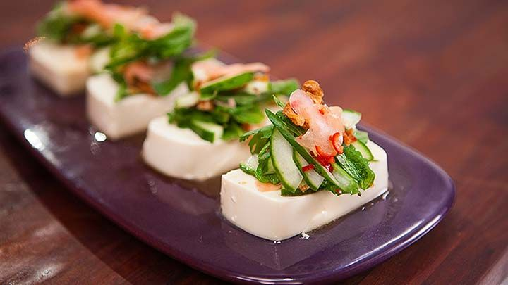 Silken Tofu with pickled ginger cucumber & mint
