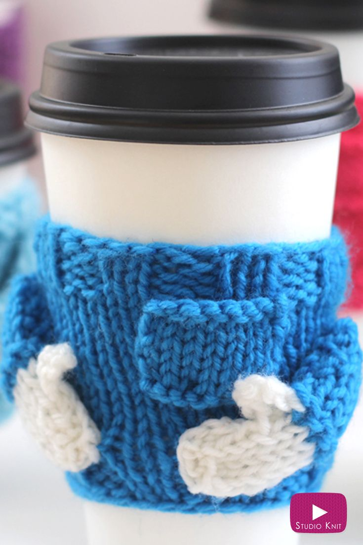 Knitted Coffee Cozy Sweaters: Free Pattern by | Pinterest | Coffee ...