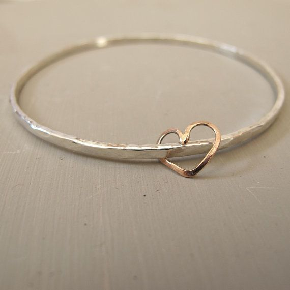 Hammered silver bangle / rose gold heart/ silver texture bangle /Mother's day gift / heart charm / anniversary gift / bridesmaid gift