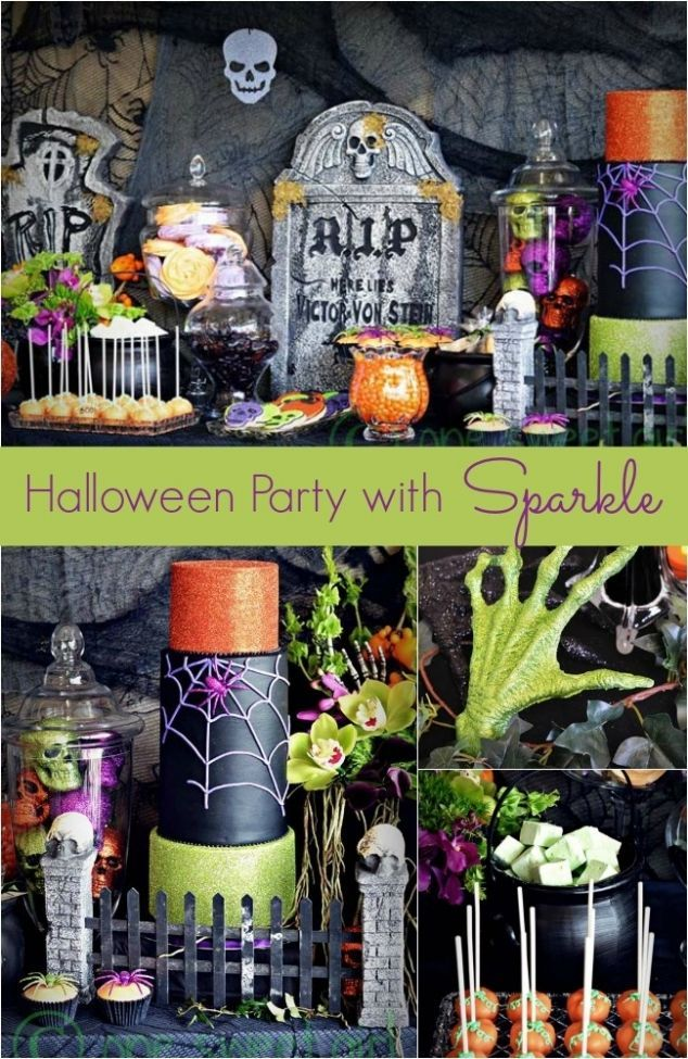 Halloween Party Decorations with Sparkle #halloweenideas - adult halloween party decor