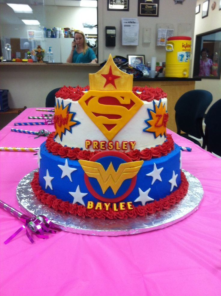 Awe Inspiring Super Woman And Super Girl Cake Superhero 1St Birthday Party With Funny Birthday Cards Online Aeocydamsfinfo
