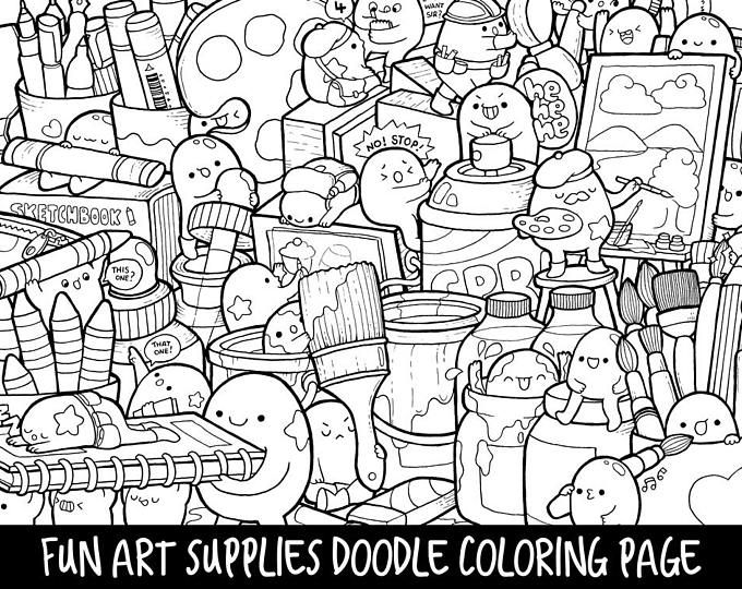 Robots Doodle Coloring Page Printable Cute Kawaii Coloring Page For Kids And Adults Doodle Coloring Monster Coloring Pages Kawaii Doodles
