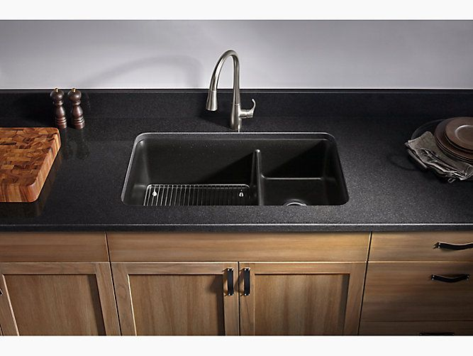 Cairn 33 In 2021 Double Bowl Kitchen Sink Types Of Kitchen Countertops Black Stainless Steel Sink