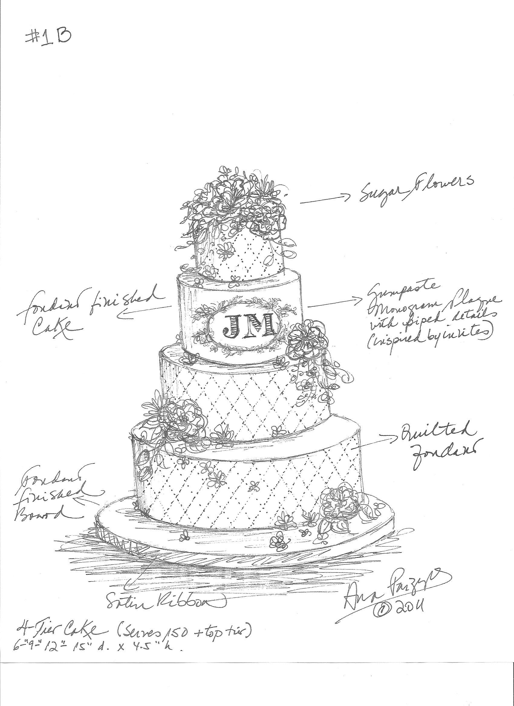 Dodds Custom Wedding Cake Sketch