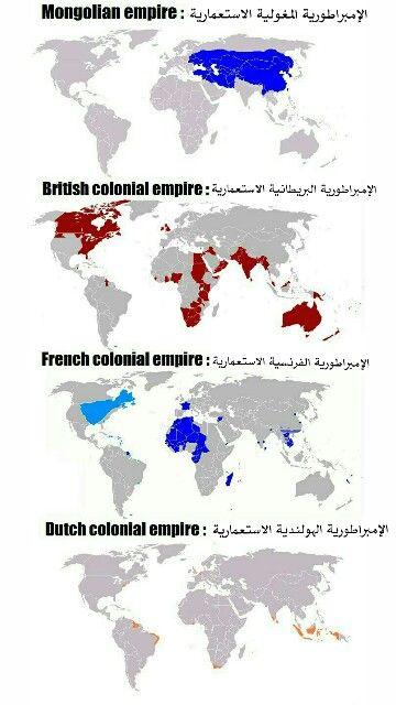 بعض الإمبراطوريات الاستعمارية وأماكن سيطرتها حول العالم منغوليا بريطانيا فرنسا هولندا French Colonial Empire Dutch Colonial French Colonial