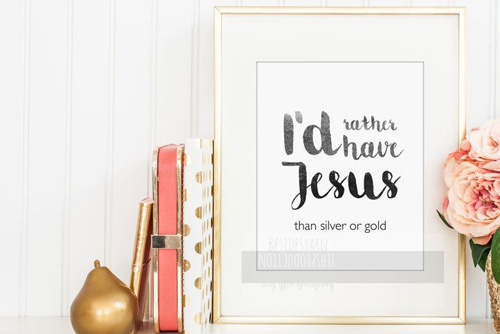 Hymn Print, I'd Rather Have Jesus, Hymn Wall Art, Christian Wall Art, Christian Worship Lyrics, Art Printable, Digital Art, Instant Download - pinned by pin4etsy.com