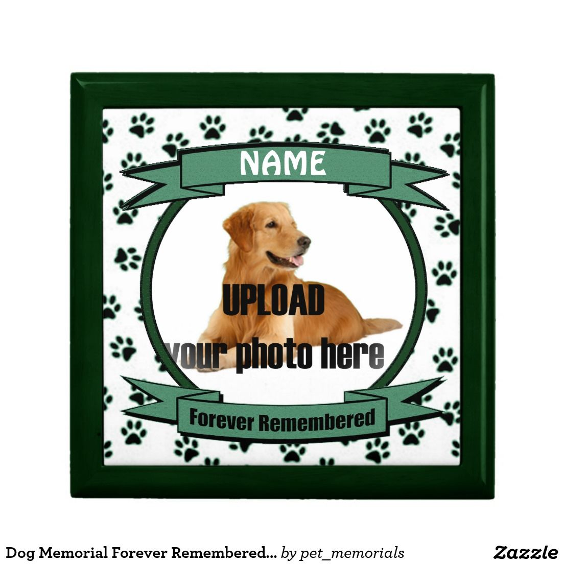 Dog or Cat Memorial Forever Remembered Green Gift Box