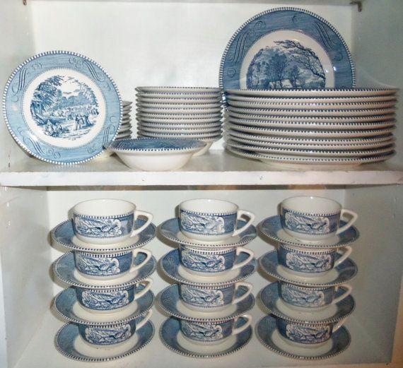 40pc Vintage Blue Currier & Ives Royal China Dish Set