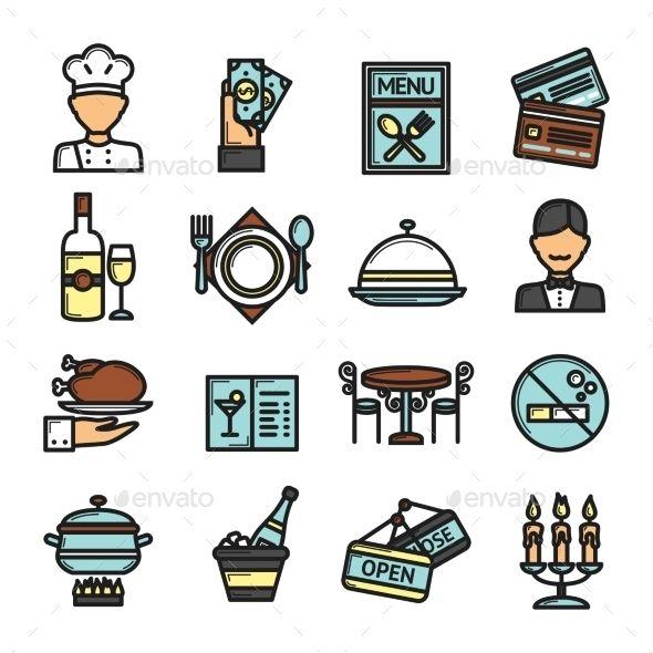 Restaurant icons set icon and restaurants