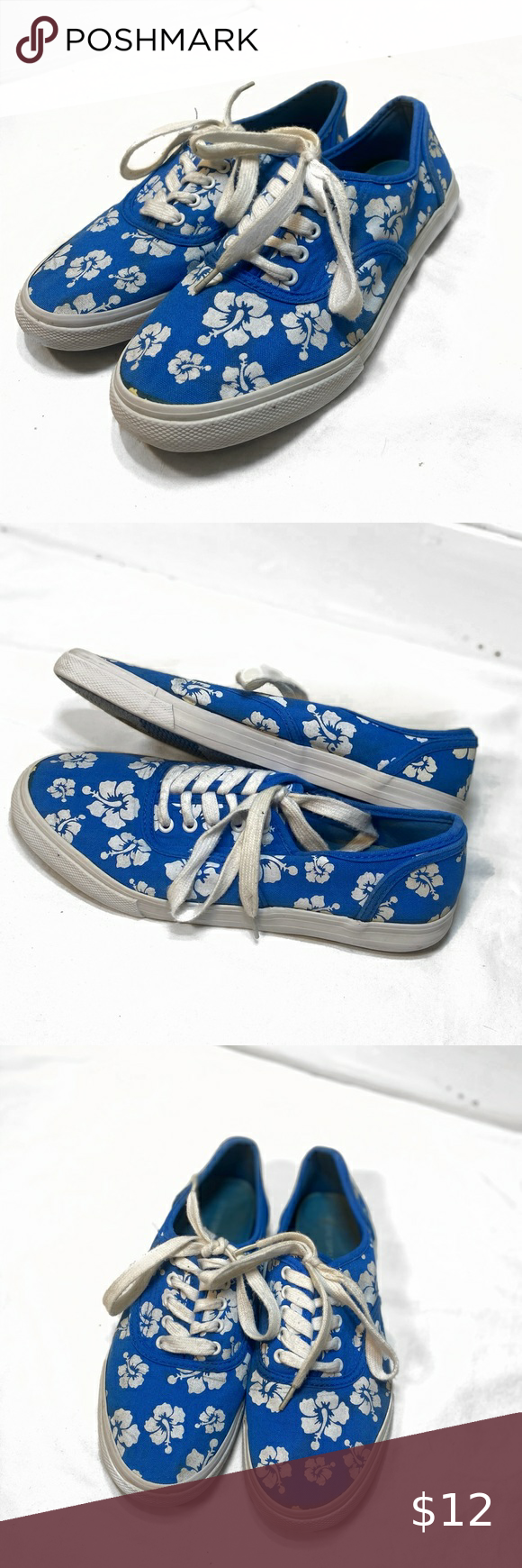 MOSSIMO blue Hawaiian flower sneakers luau floral MOSSIMO  Size 8  Cloth fabric …