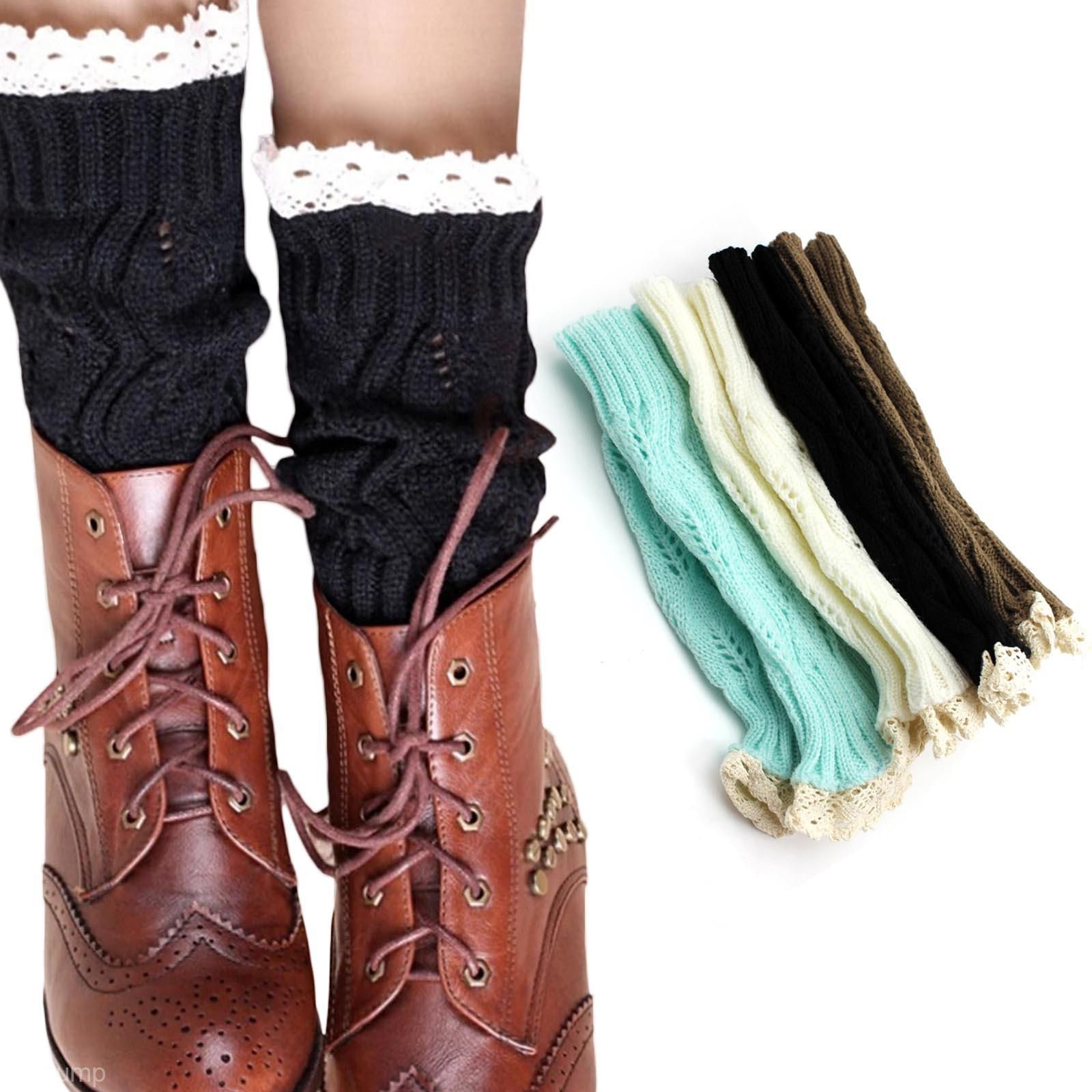 Women girl lace crochet short boot footless cuffs shoes cover leg hot fashion women girl knitted lace trim boot cuffs toppers leg warmers socks in clothing shoes accessories womens clothing hosiery socks bankloansurffo Choice Image