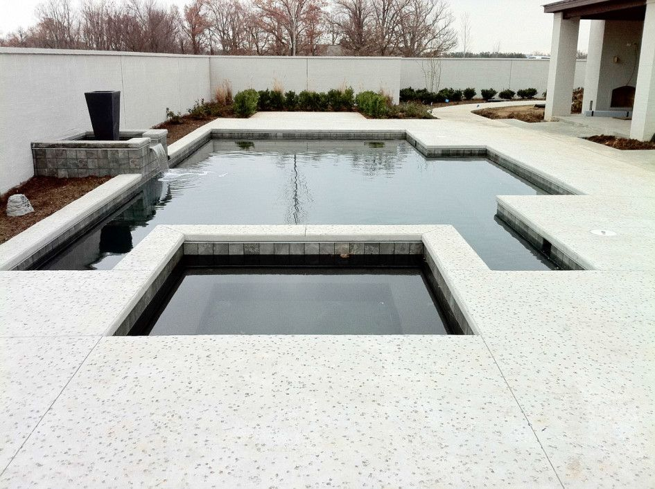 Swimming Pool Salt Fininsh Concrete Pool Deck With Waterfall For Your Swimming Pool Design Know Pool Deck Ideas Inground Backyard Pool Modern Landscape Design