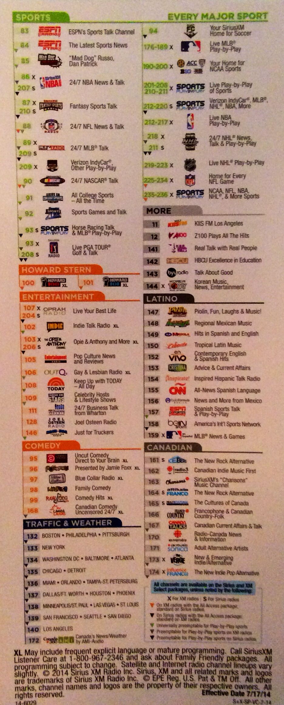 Nfl Schedule Channel Guide Siriusxm >> Sirius Xm Satellite Radio Channel Lineup Siriusxm Com