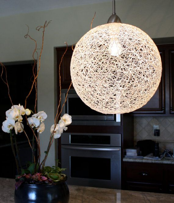 Items similar to string globe pendant light fixture 30 inch circumference in diameter on etsy