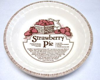 Recipe Pie Pan Plate Dish Royal China Decorative Strawberry Red White Brown  sc 1 st  Pinterest & Recipe Pie Pan Plate Dish Royal China Decorative Strawberry Red ...
