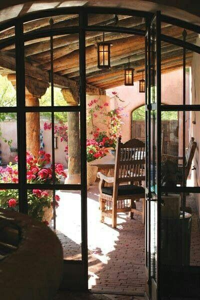 Flowered Patio Spanish Style Homes Spanish Style