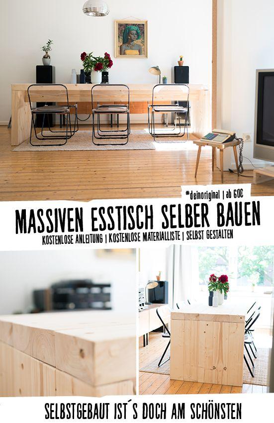 Massiver Tisch Aus Fichtenholz   Perfekt Als Wohnidee Für Ein Modernes  Esszimmer. #deinoriginal I