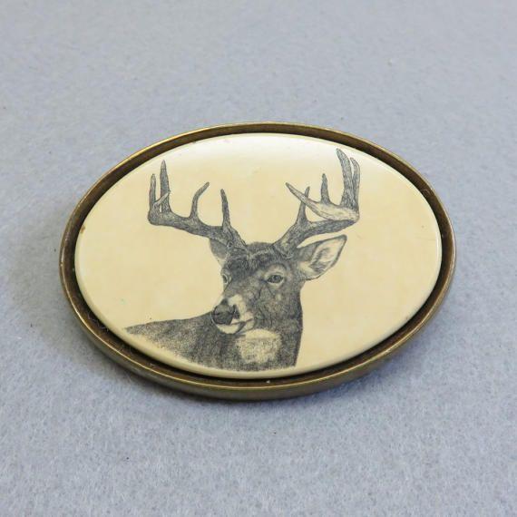 Buck Deer Hunting Western Camouflage Logo Red Oval Belt Buckle