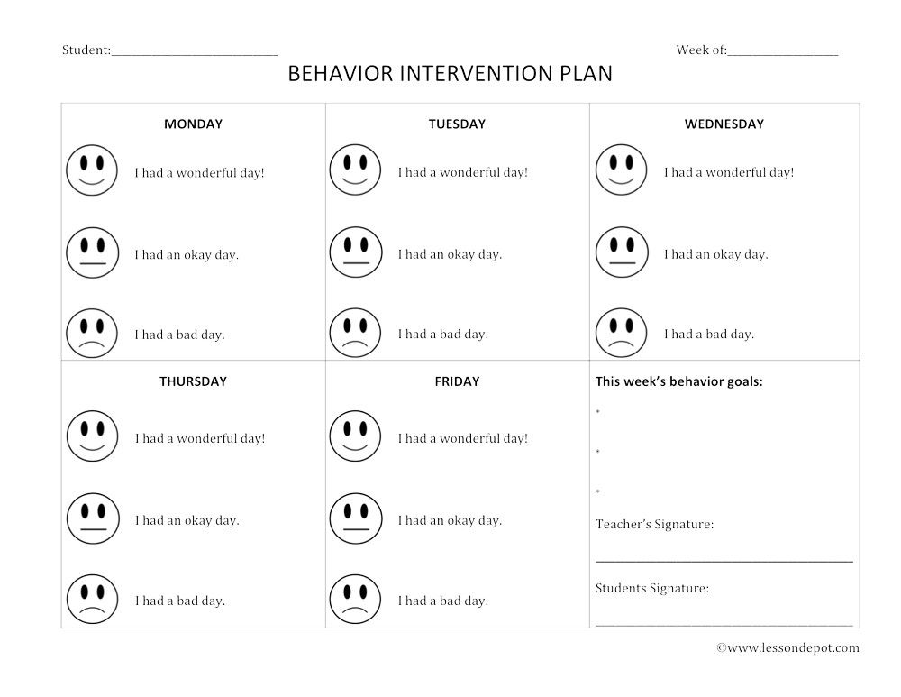 Behavior Intervention Lesson Plan Template  tlettr